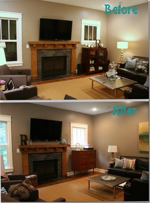 Living Room TV before & after
