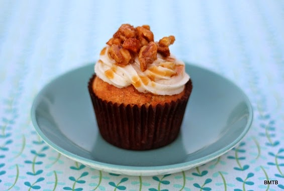 Banana Walnut Cupcakes with Banana Icing and Candided Walnuts recipe by Baking Makes Things Better