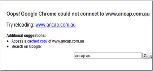 Oops! Google Chrome could not connect to www.ancap.com.au-145224