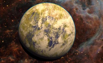 ilustração do exoplaneta Gliese832c