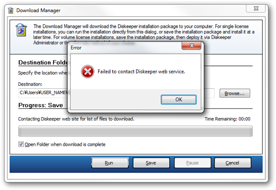 Failed to contact Diskeeper web service / Diskeeper Download Manager