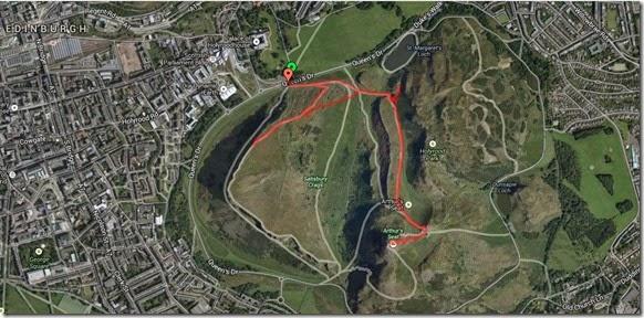 Mapa da trilha ao Arthur's Seat - Edimburgo, Escócia