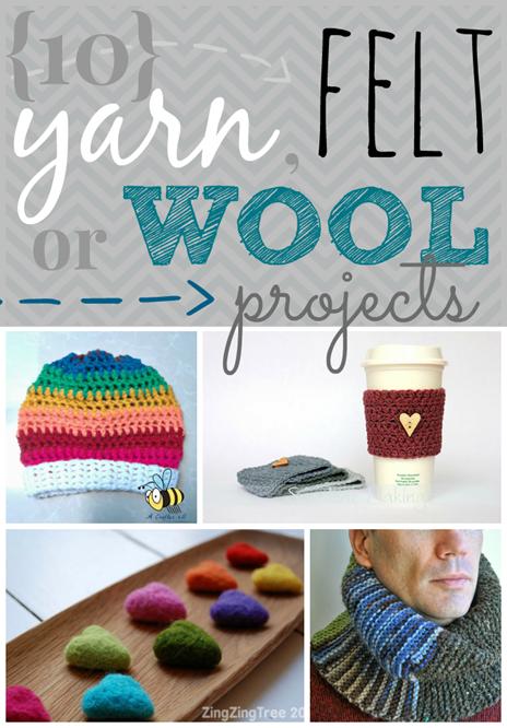 10 Yarn, Felt or Wool Projects at GingerSnapCrafts.com #linkparty #features #wool #yarn #felt