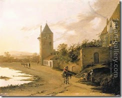 An-Italianate-Landscape-With-Travellers-On-A-Path-Before-The-Plompetoren,-Utrecht
