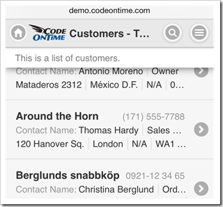 A list description with a fixed position at the top of the toolbar is displayed when a list is scrolled in a mobile app created with Code On Time mobile app generator.