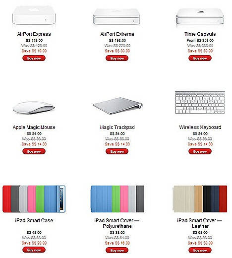 APPLE Singapore annual Lunar New Year SALE iPad Retina Display 16gb 32gb 64gb Wifi 4G, MacBook Air Pro, iPhone 4S, iPod Touch, Nano, Magic Track pad, Magic Mouse, Time Capsule 2TB, AirPort Express Base Station , iPad smart cover