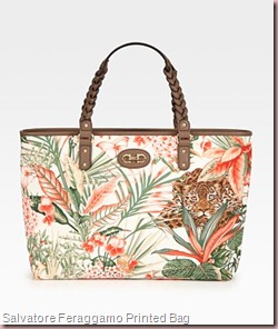 Salvatore Feraggamo Printed Canvas Tote Bag