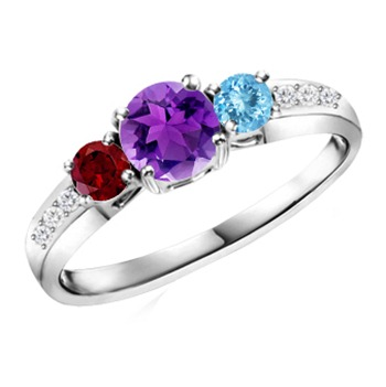 Three Stone Ring With Garnet, Amethyst, Aquamarine in 14k White Gold