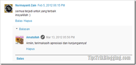 Tampilan Treaded Comment Blogger