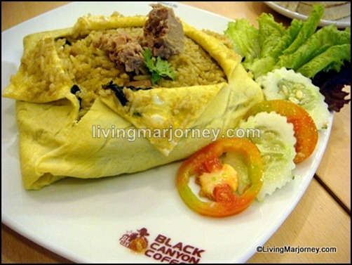 Tuna Green Curry Fried Rice Wrapped in Egg sheet (P156).