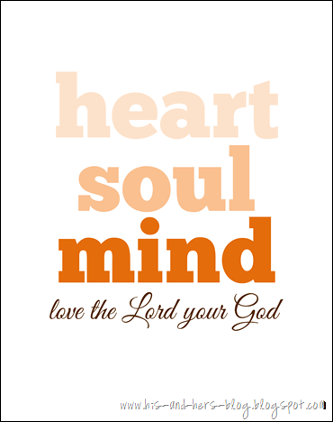 free printable love the lord your god orange