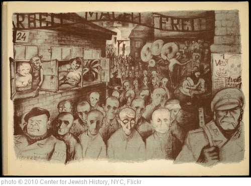 'Lithograph by Leo Haas (1901-1983), Holocaust artist,  who survived Theresienstadt and Auschwitz' photo (c) 2010, Center for Jewish History, NYC - license: http://www.flickr.com/commons/usage/