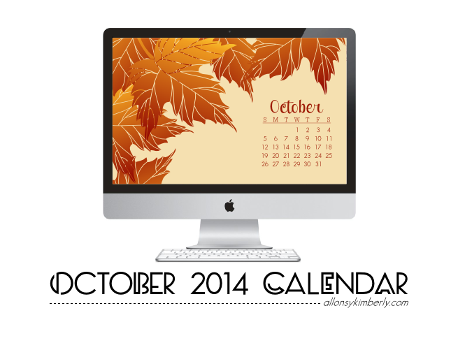 October 2014 Desktop Calendar Wallpaper (Free Download) | allonsykimberly.com