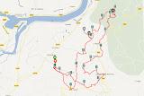 Le tracé de la ballade. Entre 8 et 9 km le Mont Tournier