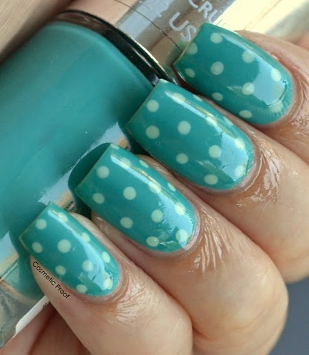 The Body Shop Color Crush Nail Polish in Green with Mint Cream Polka Dots