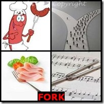 FORK- 4 Pics 1 Word Answers 3 Letters