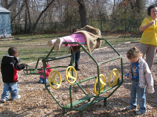 Children play at morning recess.