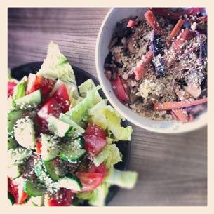 3 Mittagessen Reste von gestern plus Salat