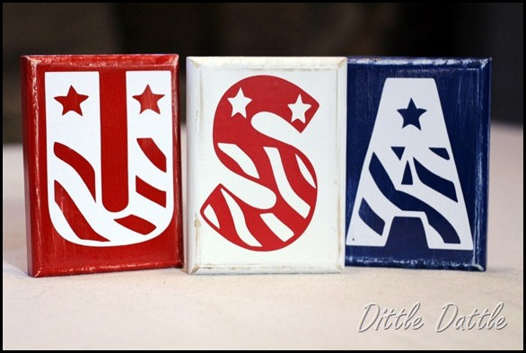 USA wooden blocks- Patriotic Craft