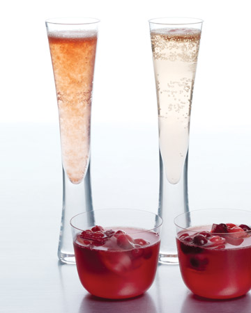 Sorbet and Champagne Cocktail: A dollop of sorbet adds juicy sweetness -- and a pop of color -- to this holiday drink.