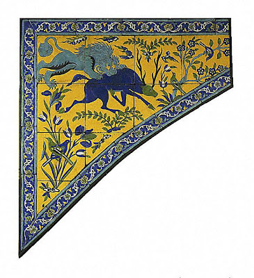 Tile panel for a spandrel | Origin: Iran, Isfahan | Period:  17th century | Collection: The Nasli M. Heeramaneck Collection, gift of Joan Palevsky (M.73.5.4) | Type: Ceramic; Architectural element, Fritware cuerda seca technique, 45 1/4 x 41 1/2 in. (114.94 x 105.41 cm)