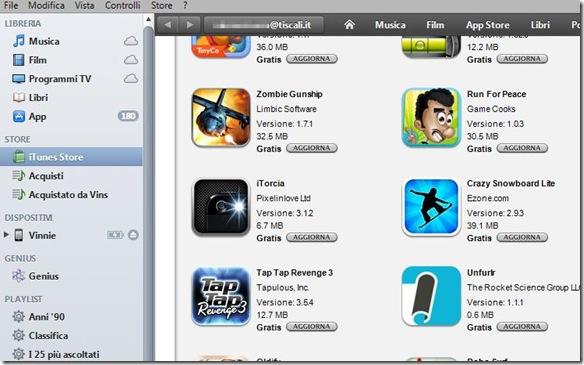 iTunes elenco aggiornamenti applicazioni disponibili