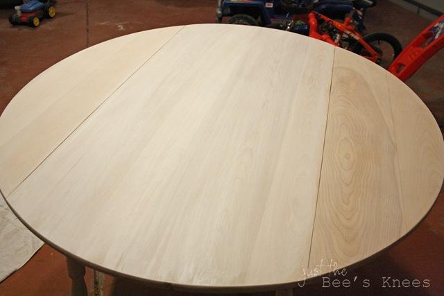 white wash table in progress