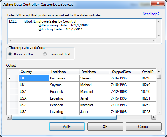 Configuring a data controller based on a stored procedure in Code On Time.