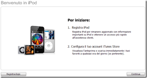 Registrare l'iPod o iPhone