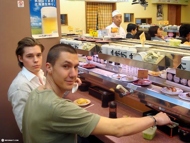 convey belt sushi is amazing in Roppongi, Tokyo, Japan