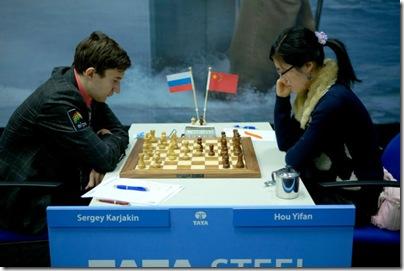 Tata 2013 Round 1 Sergey Karjakin Hou Yifan