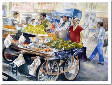 mango seller bali painting