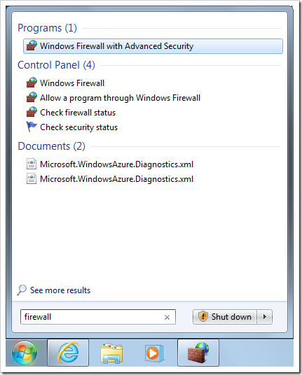 Starting Windows Firewall with Advanced Security configuration tool.