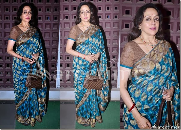 Hema_Malini_Blue_Printed_Saree