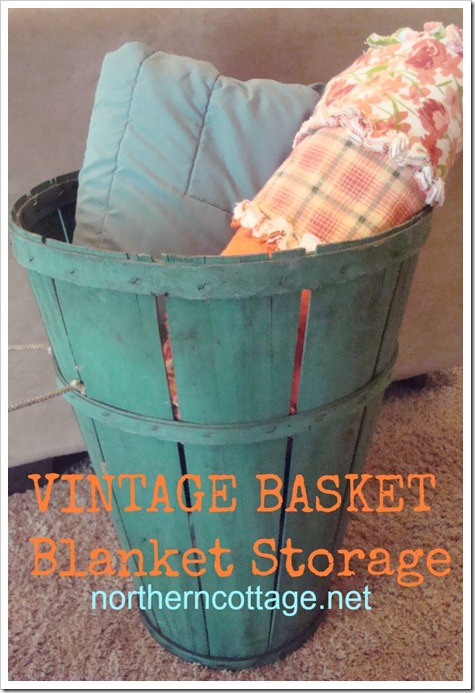 vintage basket blanket storage @northern cottage