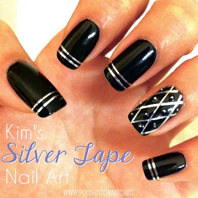 Silver Tape Nail Art by Kim for polish insomniac