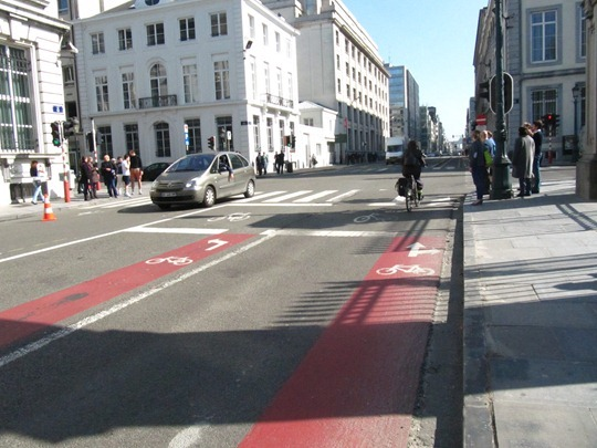 Bike lanes in Brussels, Belgium