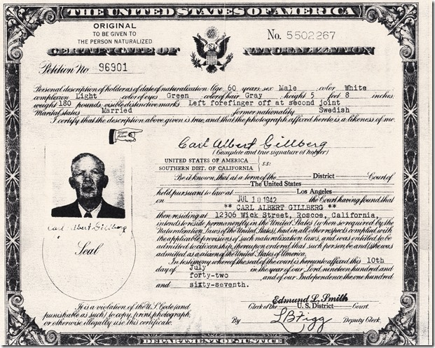 Carl Albert Gillberg Certificate of Naturalization Cropped