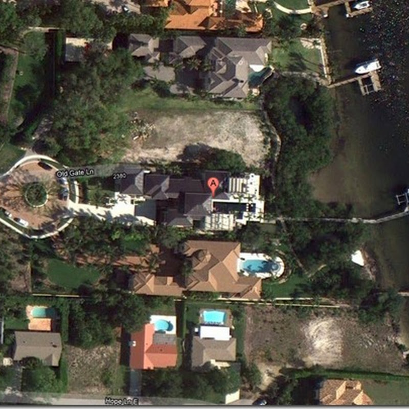 Google Earth View Of Rory McIlroy's New House at 2380 Old Gate Lane, Palm Beach Gardens Florida