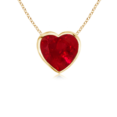 Heart Ruby Solitaire Pendant