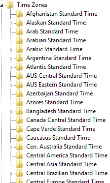 The Windows registry time zones
