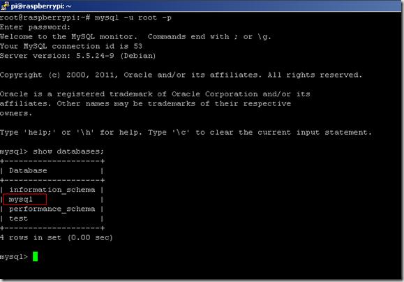 mysql>show databases;