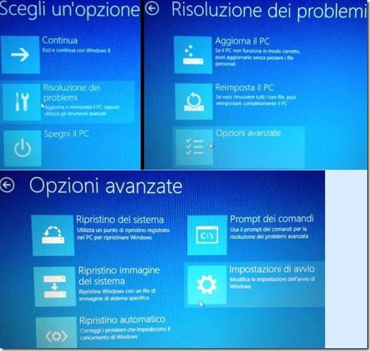 Windows 8 schermate Scegli un'opzione, Risoluzione dei problemi e Opzioni avanzate