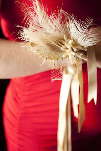 My sister, and Matron of Honor, wore a Brown Paper Design wrist corsage.
