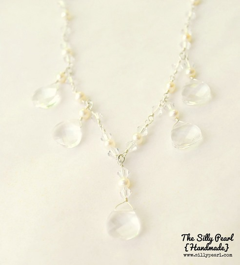 Teardrop Statement Bridal Necklace - The Silly Pearl