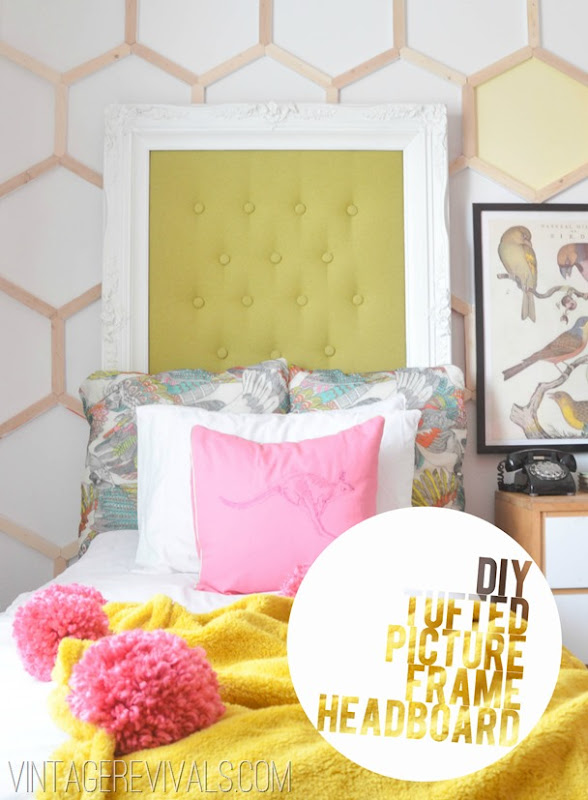 Tufted Picture Frame Headboard Tutorial @ Vintage Revivals