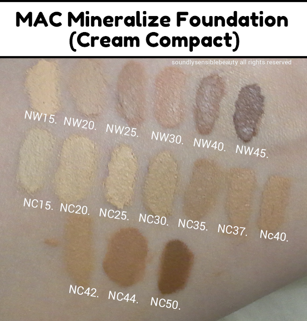 Mac Mineralize Foundation, Cream Compact; Review & Swatches of Shades; NW15, NW20, NW25, NW30, NW40, NW45, NC15, NC20, NC25, NC30, NC35, NC37, NC40,  NC42, NC44, NC50
