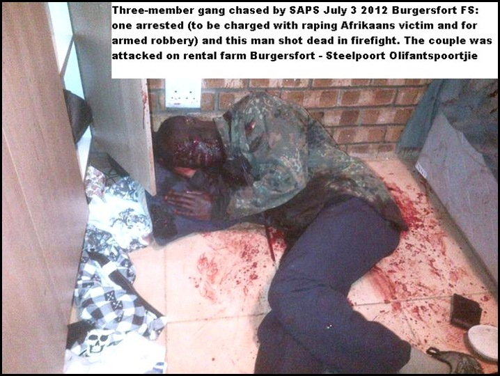 Burgersfort farm attack July 3 2012 Black male attacker armed dies in gunfight with defending farm family pic Boere Aksie Groep