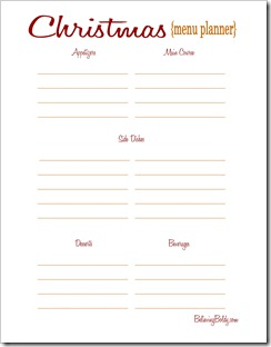 Christmas Menu Planner 2 Printable SJB