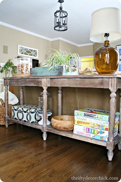 rustic long sofa table